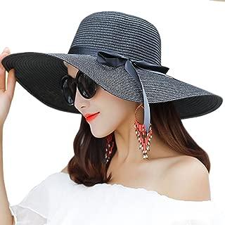 Itopfox Women's Big Brim Sun Hat Floppy Foldable Bowknot Straw Hat Summer Beach Hat