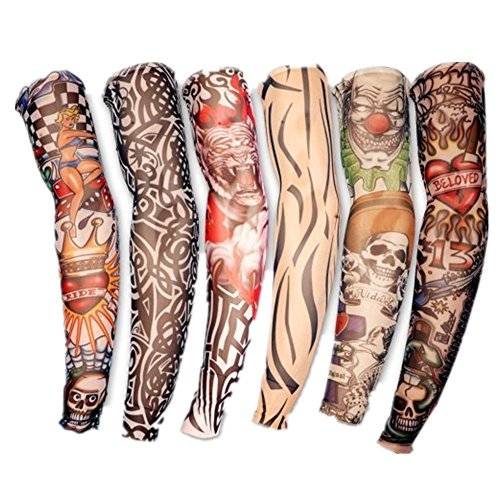Da.Wa 6X Rock Fake Novelty Tattoo Arms/Legs Stockings Sleeves 45cm,Fancy Dress Costume