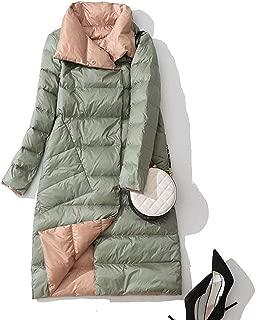 Surprise S Women Double Sided Down Long Jacket Winter Turtleneck White Duck Down Coat