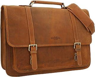 Gusti Aktentasche Leder - Fredrik Unitasche Umhängetasche Arbeitstasche groß Laptoptasche Vintage Braun