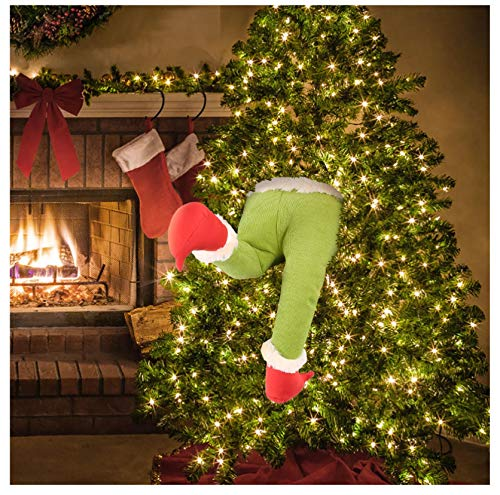 How the Grinch Stole Christmas Burlap Wreath, Christmas Garland Decorations Jolly Santa Wreath for Front Door Fireplaces Wall Window Xmas Tree Garden Yard Home Decor, Lovely Xmas Gifts (Legs Only)