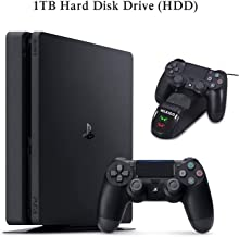 NexiGo 2020 Playstation 4 PS4 Slim 1TB Console Holiday Bundle Charging Dock Bundle