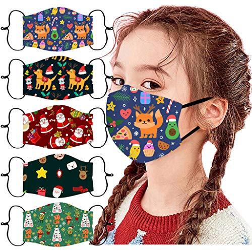 5-Stück Kinder Mundschutz Multifunktionstuch Weihnachten Cartoon Druck Maske Animal Print Atmungsaktive Baumwolle Stoffmaske Waschbar Mund-Nasenschutz Tiermotiv Bandana Halstuch Jungen Mädchen
