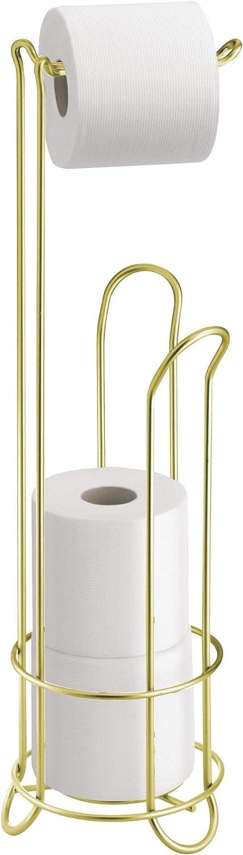 InterDesign Classico Portarrollos de papel higiénico de pie, dispensador de papel de baño de metal, latón mate