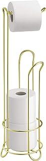 iDesign Toiletpapierhouder met reserverolhouder, smalle toiletpapierhouder staand van metaal, vrijstaande toiletpapierstan...