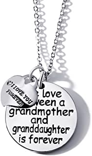 The Love Between a Grandmother and Granddaughter(Grandson) is Forever and I Love You Forever Pendant Necklace
