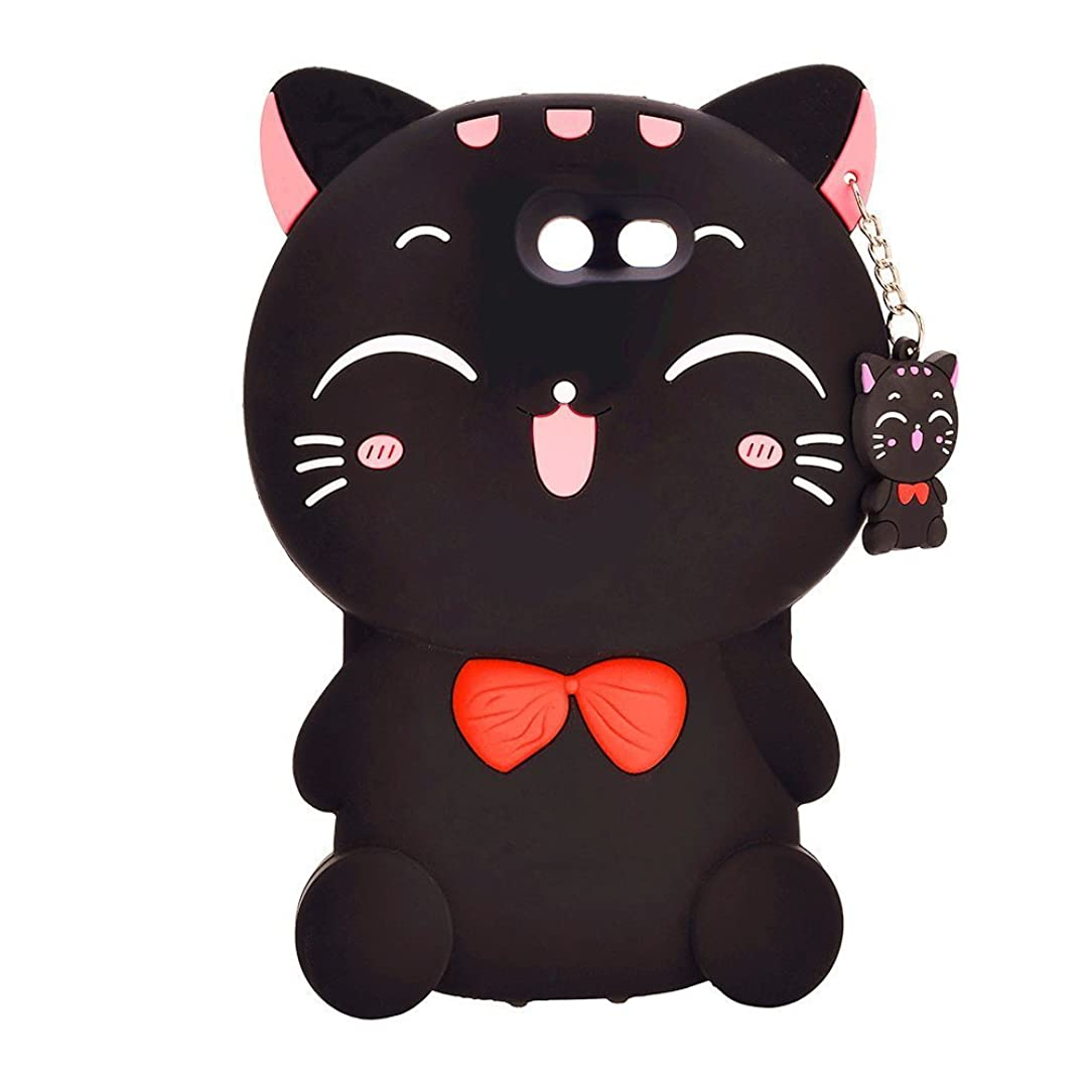 Mulafnxal Black Lucky Cat Case for Samsung Galaxy J3 Emerge Prime J3 2017,Soft Fun Kawaii Character Unique Girls Kids Silicone Rubber Shock Proof Protective Cover Skin for Express Prime 2