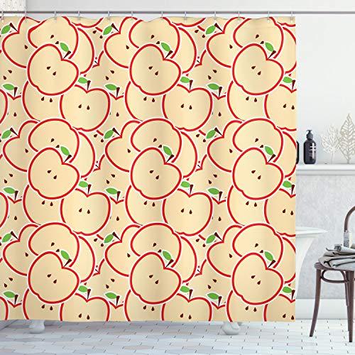 ABAKUHAUS Apfel Duschvorhang, Bio Essen Cartoon, mit 12 Ringe Set Wasserdicht Stielvoll Modern Farbfest & Schimmel Resistent, 175x200 cm, Apfelgrün Beige Rot
