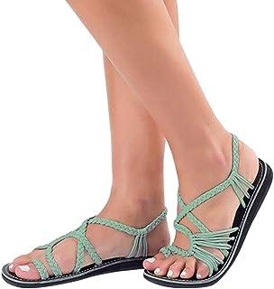 bf0d9fb8 Sandalias de Mujer Verano Chanclas Zapatos Tejidos Correa de Moda Zapatos  de Playa Zapatillas ❤️