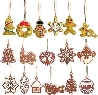 Mini Ornaments Set of 17 Pieces - Gingerbread Man Christmas Tree Pendant Wind Chime Bird Angel Christmas Ornament for Christmas Tree Decorations
