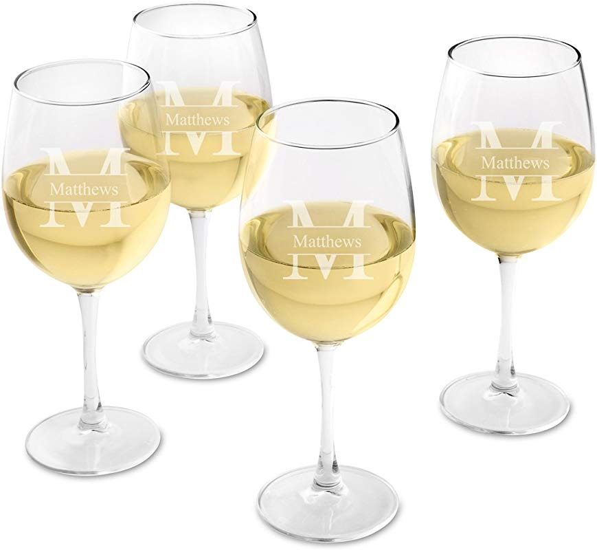 Personalized White Wine Glass Set Of 4 Engraved Wine Glasses Stamped Monogram