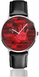 JohnMichelle Unisex Woman's Mens Lil Wayne Tha Carter V Leather Watch Stainless Steel Quartz Watch Simple Dress Wrist Watch 40mm Case Gift