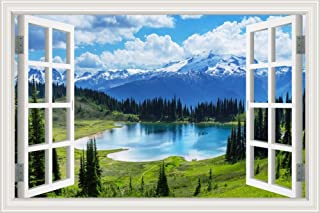 GreatHomeArt Peel and Stick 3D Wall Decals Nuature Scenery Lake and Mountain Window View Sticker Wall Décor Art Removable ...