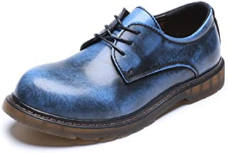 Oxfords Men's Loafer Shoes Genuine Leather Low Top Ankle Boots Big Kids Size Available Driving Shoes JFYCUICAN (Color : Blue, Size : 5.5 UK)
