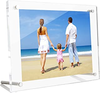 NIUBEE 4x6 Clear Acrylic Desktop Picture Frame, Beveled Frameless Plexiglass Photo Photography Display with Standoff