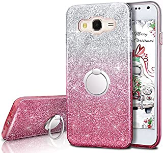 Galaxy J7 2015 Case,Silverback Girls Bling Glitter Sparkle Cute Phone Case with 360 Rotating Ring Stand, Soft TPU Outer Cover + Hard PC Inner Shell Skin for Samsung Galaxy J7 2015 -Pink