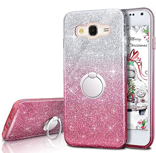 Galaxy Grand Prime Case, Galaxy J2 Prime Case,Silverback Girls Bling Glitter Case with 360 Rotating Ring Stand, Soft TPU Cover + Hard PC Shell for Samsung Galaxy Grand Prime Plus -Pink