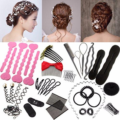 26 Pcs Accessoires de Coiffure, Luckyfine, Set d'Outils de Coiffure, DIY Cheveux Accessoires, Kit de Coiffures de Cheveux pour Femmes et Filles, Convient pour Tous les Débutants
