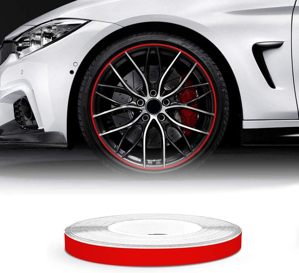 4R Quattroerre.it 10302 Wheel Trim Tiras Adhesivas Reflectantes para Llantas de Coche, Rojo, 5 mm x 6 MT