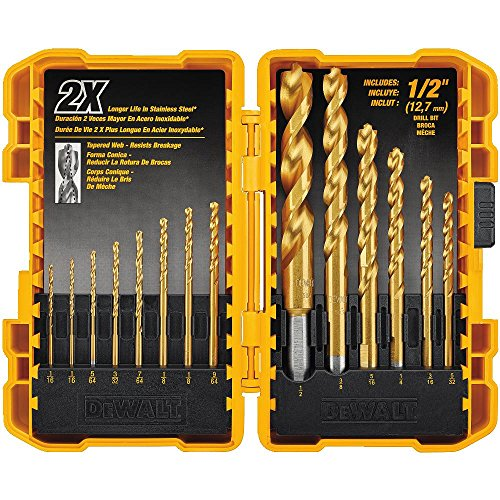 DEWALT Drill Bit Set, Titanium, 14-Piece (DW1354),Yellow