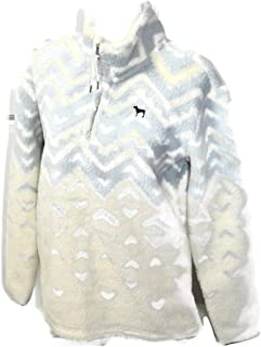 PINK Pullover Sherpa Boyfriend Geometric Sweater Half Zip (Extra Small)