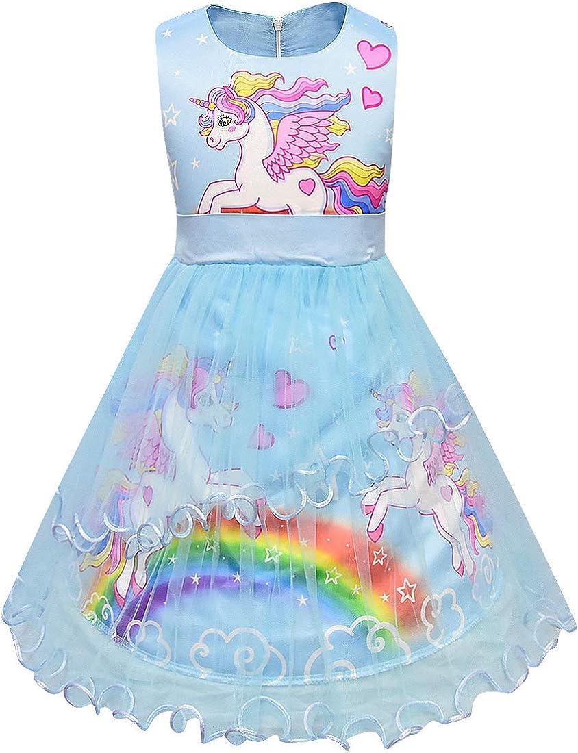 LEMONBABY Unicorn Sleeveless Princess Birthday Party Dress