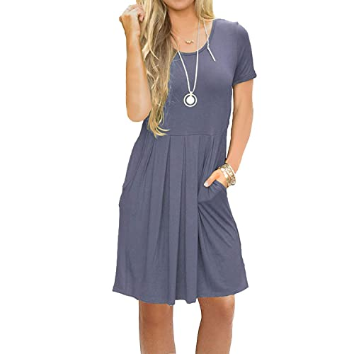 171f9fc3db AUSELILY Women s Short Sleeve Pleated Loose Swing Casual Dress with Pockets  Knee Length