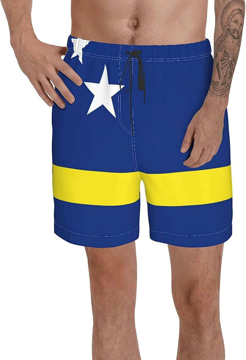 Count Curaçao Flag Men's 3D Printed Funny Summer Quick Dry Swim Short Board Shorts with