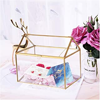 Mostbest Large Geometric Glass Box, Terrarium Organizer,Centerpiece Decor Card Holder Perfect for Wedding Receptions, Planter Holder,Gift & Display Box (8.26