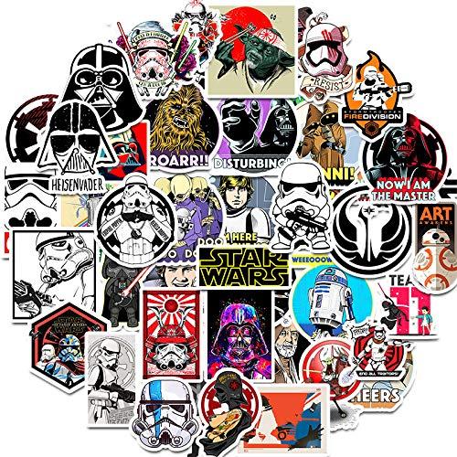 WYDML Star Wars película Pegatina monopatín Maleta Ordenador teléfono Graffiti Pegatina Impermeable 50 Uds