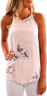 Start Women's Summer Strap Tank Tops Sleeveless Shirt Tuxedo Casual T-Shirt US=6 Pink