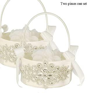 LAPUDA Two Pieces one Set, Flower Basket Series-Wedding Flower Basket, Flower Girl' Basket, Rhinestone Flower Basket Style HL0247 (Ivory)