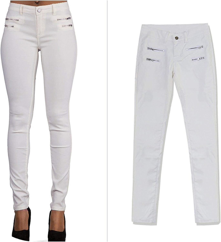 Biubiu Jeans Women Low Waist Stretch Pants Double Zipper PU Coated Faux Leather Moto Biker Pant