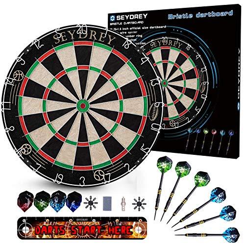 Dartscheibe Kork Dartscheibe mit Pfeilen Offizielles Steeldartscheibe Dartscheibe Steeldart Dartscheibe Set 6 Dartpfeile Metallspitze,12 Flights,Rotierender Nummernrin +Staple-Free Bullseye (01)