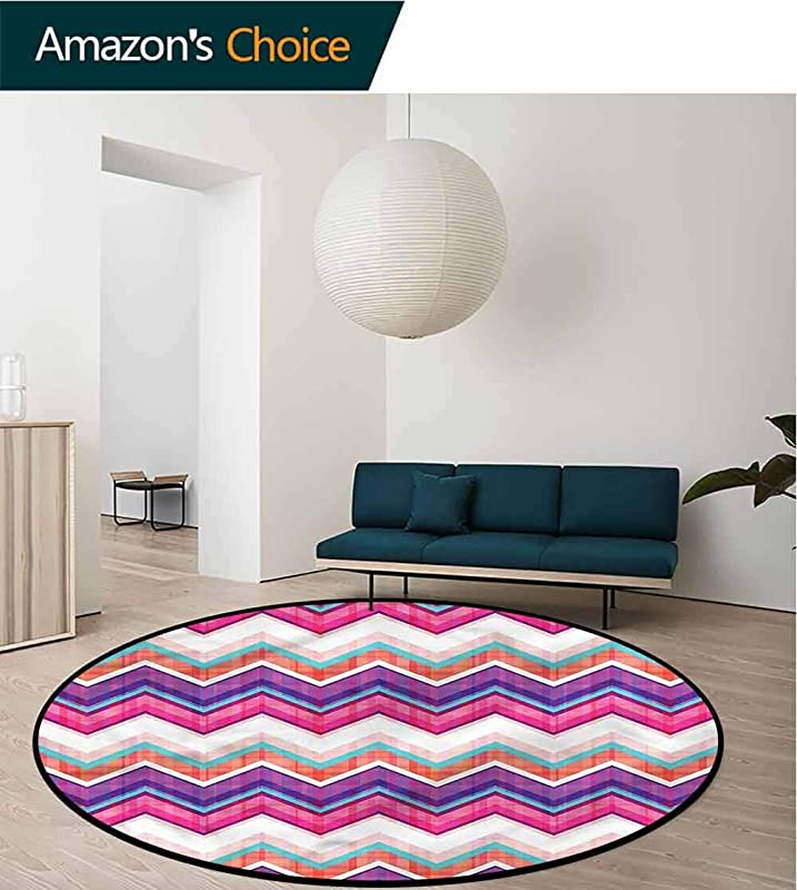 RUGSMAT Chevron Area Rugs Traditional Design Colorful Groovy Art Carpet Door Pad For Bedroom Living Room Balcony Kitchen Mat Diameter 59