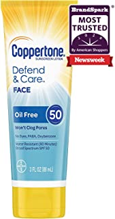 Coppertone Defend & Care Oil Free Sunscreen Face Lotion Broad Spectrum SPF 50 (3 Fluid Ounce) (Packaging may vary)