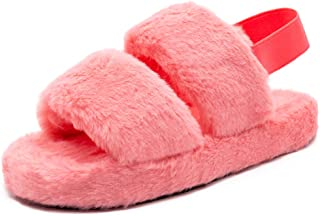 Women's Fuzzy Fluffy Slide Slippers Soft Plush Open Toe House Flats Slip On Furry Fur Wedge Sandals with Elastic Strap