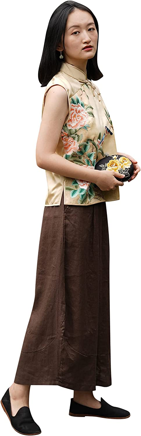 Handmade Maxi Summer Skirt A-line for Women Made from Cotton Linen Blend in Dark Brown with Pocket One Piece Only 101