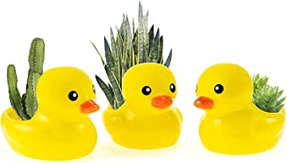 Yellow Duck Ceramic Succulent Pots Flower Plant Pots Cute Mini Pots for Plants, Perfect for Home Office Decor and Ideal Fa...