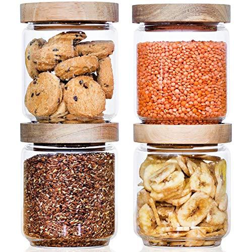 Econovo® Vorratsgläser Set mit Deckel (4-teilig) aus verstärktem Borosilikatglas, stapelbar und luftdicht, Vorratsdosen Glas-Behälter Set für Lebensmittel groß und klein 500ml