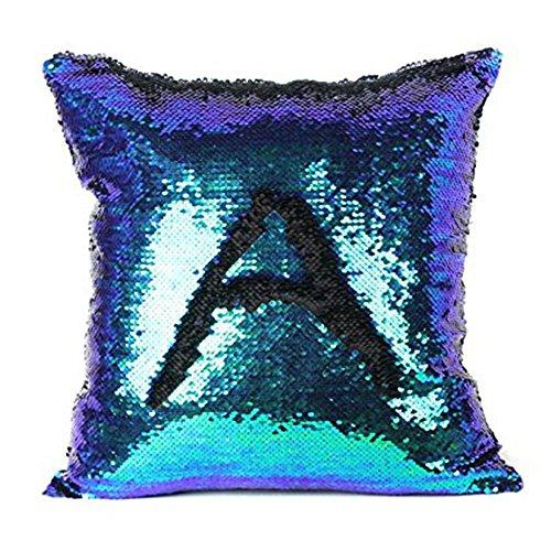 Winmany Mermaid Reversible Sequin Throw Pillow Case Magic Swipe Pillowcase Glitter Cushion Cover for Home Car Sofa Decorations 40x40cm