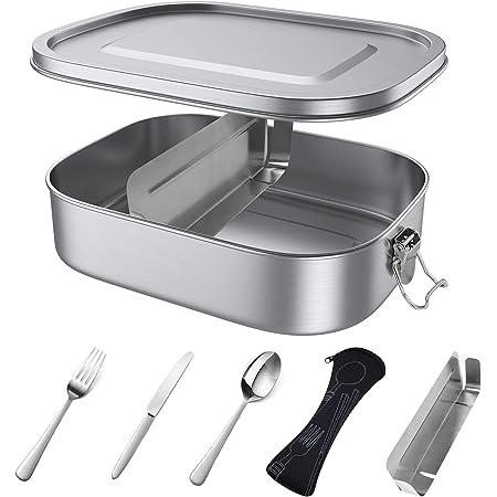 yoyoblue Brotdose Edelstahl 1200ML,Metall Brotdose mit entfernbaren Trennwänden, Auslaufsicher Brotbox mit Trennwand & Besteck für Erwachsene und Kinder, Suitable for Dishwasher, BPA-frei