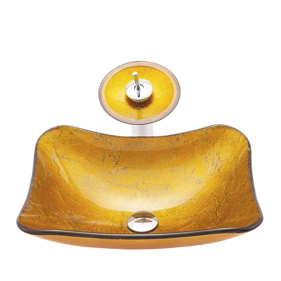 広々とした存在容量洗面台 ゴールド強化ガラス繊維強化プラスチックボウルシンクオンザカウンターで滝クロムメッキ蛇口のコンビネーションとシンクドレインポップアップ 美容サロン高級ホテル (色 : Gold, Size : 47.5x37.5x13.5cm)