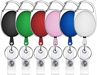 Selizo 6 Packs Retractable Badge Holder Badge Reel Carabiner ID Keychain with Clip, Assorted Color