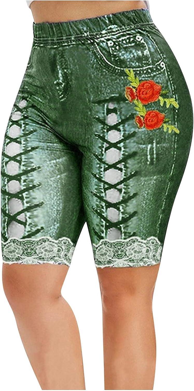 WUAI Bermuda Shorts for Women Plus Size Capri Jeans Jeggings High Waist Butt Lift Yoga Workout Leggings with Pockets