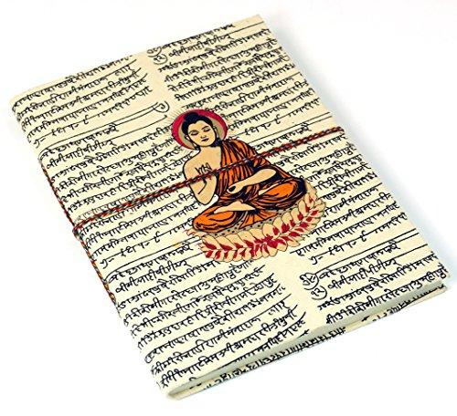 Guru-Shop Notizbuch, Tagebuch, Schreibheft, Schreibbuch aus Lokta Papier Buddha, Größe: Groß (20x15x1,5 Cm), Notizbücher & Tagebücher