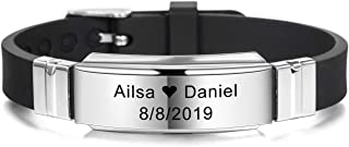 MeMeDIY Personalized Bracelet Engraving Names Silicone Sport Wrist Identification ID Tag Bracelet Customized for Men Women Kids Stainless Steel Rubber Adjustable 15mm Wide