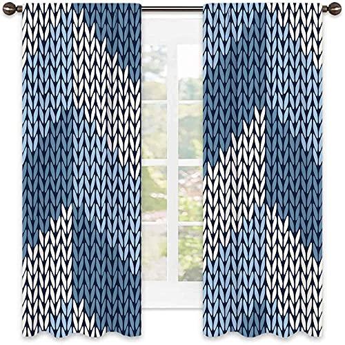 Azul 90% cortinas opacas, patrón nórdico escandinavo cultural en colores de invierno estilo retro tradicional, sala de estar cortinas de color de 42 x 72 pulgadas de ancho azul pálido blanco