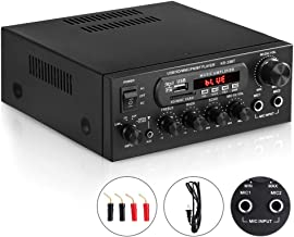 Bluetooth Power Home Audio Amplifier Receiver, ARCHEER 100W HiFi 2 Channel Integrated Stereo Amp System with 2 Mic Jack, Bass&Treble&Echo Control and Power Supply, USB/Bluetooth/TF Card/FM Supported.