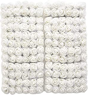 Artificial Flowers flower heads rose bouquet Fake flowers Wedding Decoration DIY Decorative Wreath party 2cm 144pc (white)